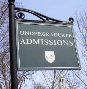 undergraduate college admissions sign with sky